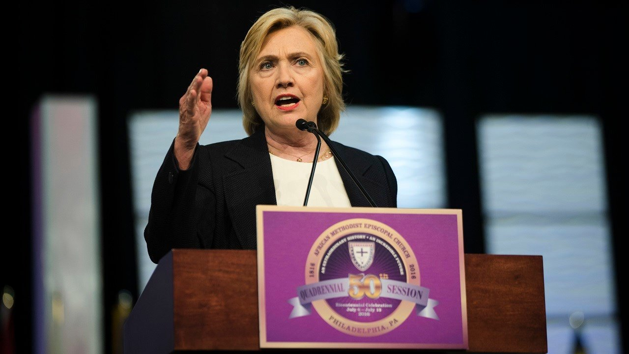 Democratic presidential candidate Hillary Clinton speaks at the African Methodist Episcopal church national convention in Philadelphia, Friday, July 8, 2016.