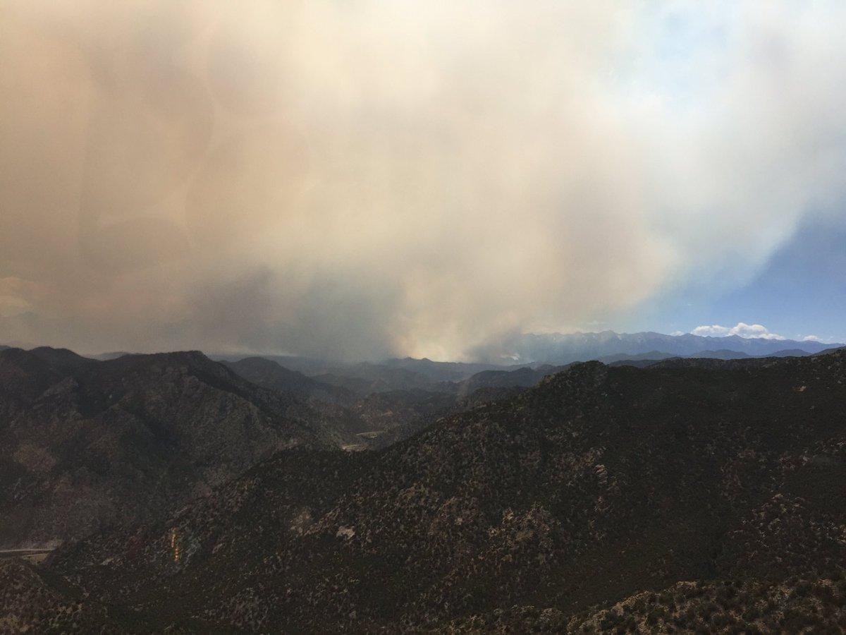 Hayden Pass Fire burning on Monday afternoon near Coaldale.