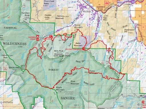 Hayden Pass Fire Perimeter as of 7/12