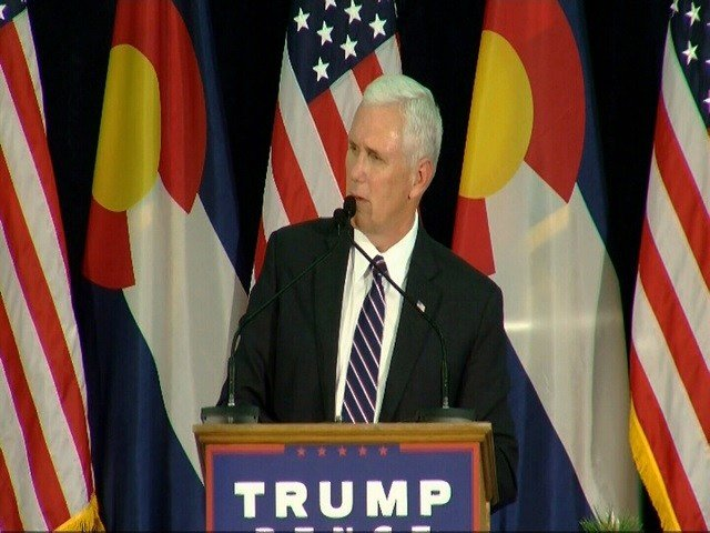 Republican Vice Presidential Candidate Mike Pence speaks at a town hall meeting in Colorado Springs