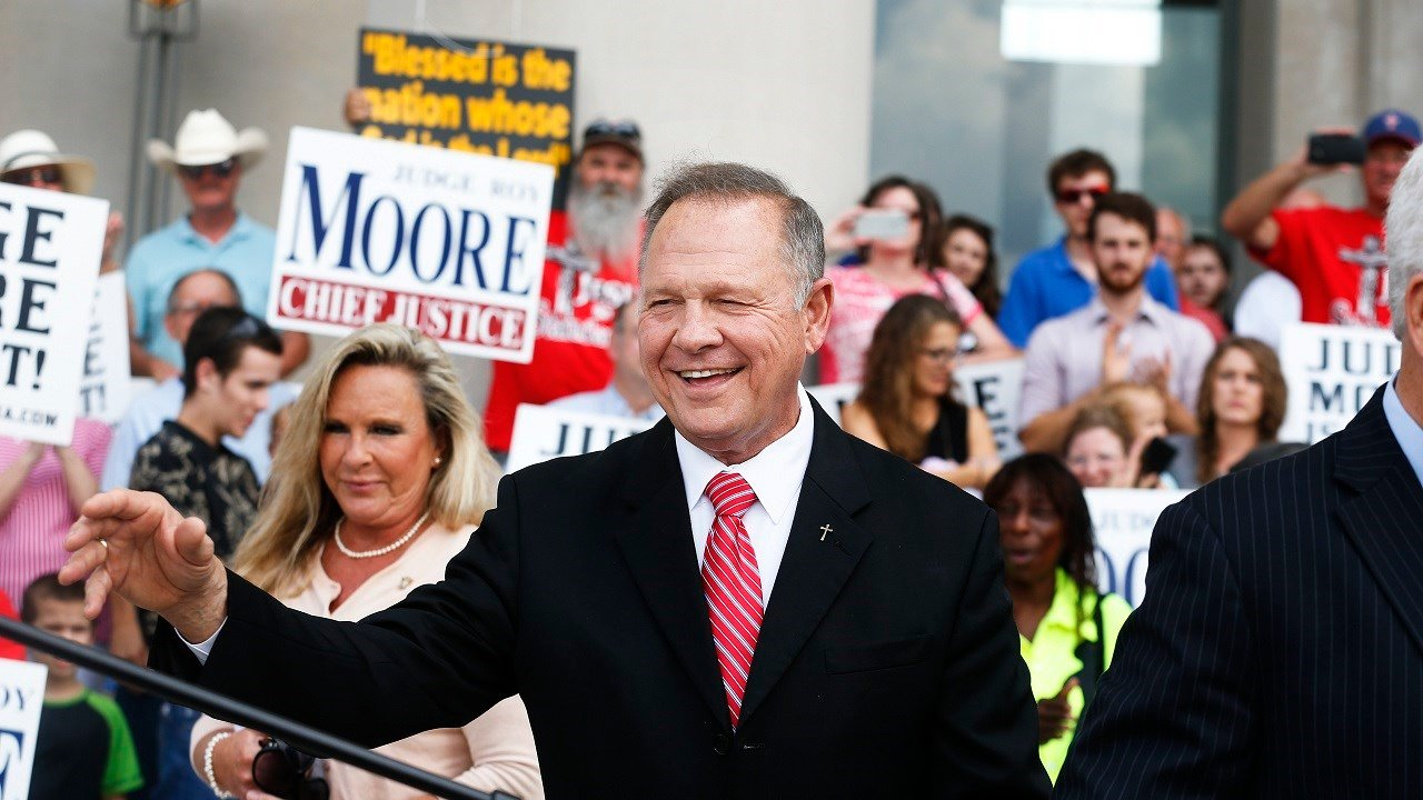 Alabama Chief Justice Roy Moore speaks to the media during a news conference in Montgomery, Ala., on Monday, Aug. 8, 2016.