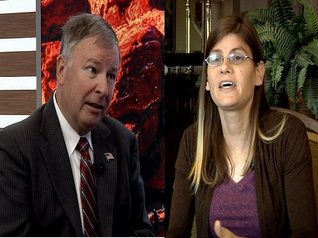Republican Congressman Doug Lamborn, left, and Democratic challenger Misty Plowright, right