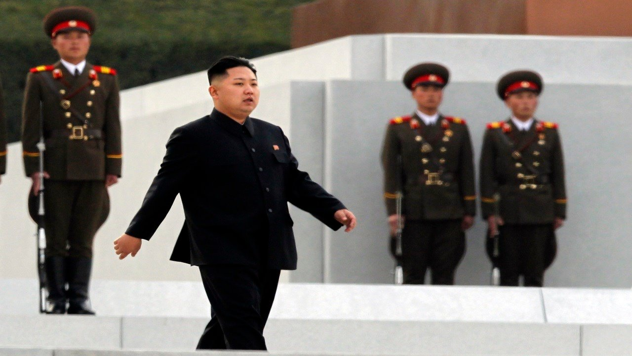 North Korean leader Kim Jong Un arrives for the unveiling ceremony for statues of late leaders Kim Jong Il and Kim Il Sung on Mansudae in Pyongyang, North Korea (AP Photo/Ng Han Guan)