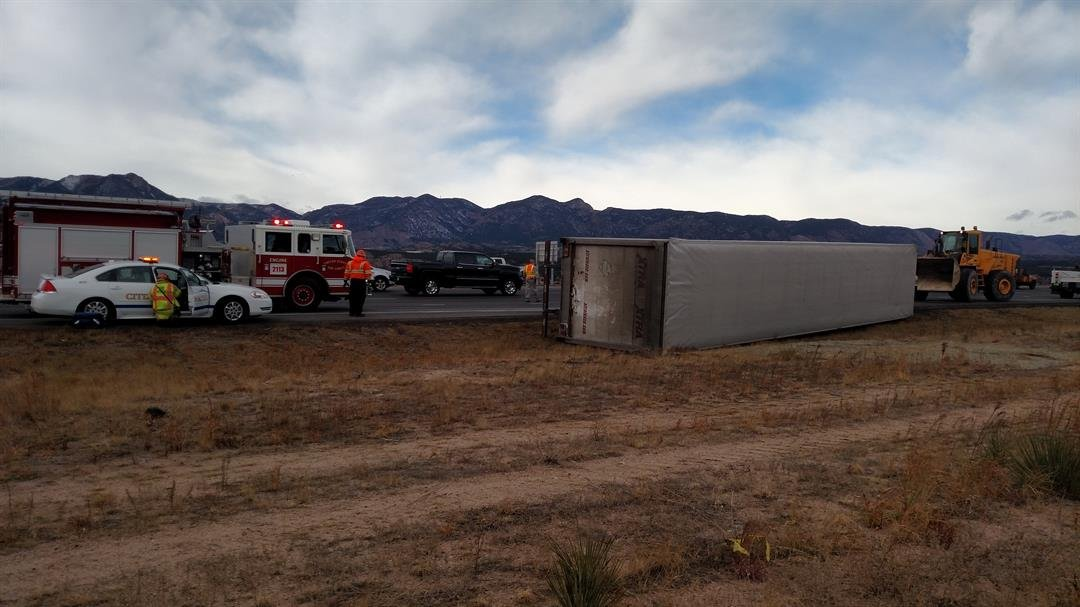 Overturned semi on I-25 near Briargate