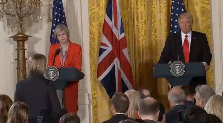 British Prime Minister Theresa May holds joint press conference with President Donald Trump