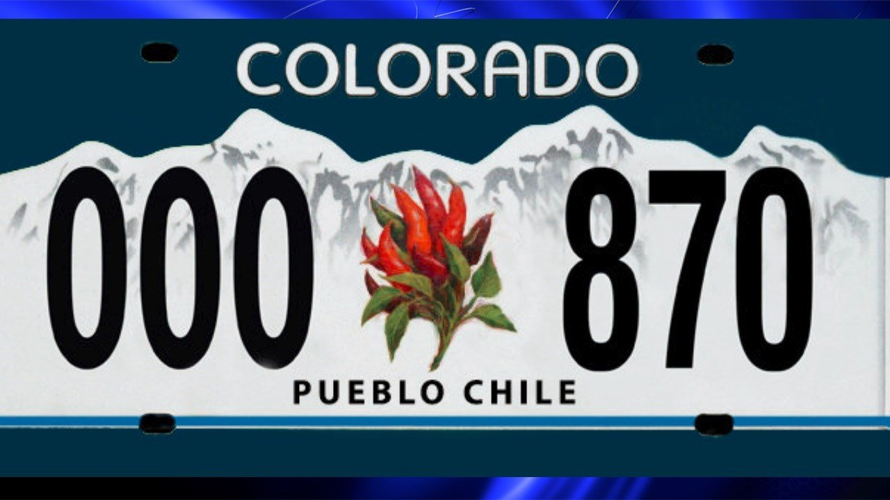 Mock-up of proposed Pueblo Chile license plate approved by Colorado lawmakers and Gov Hickenlooper.
