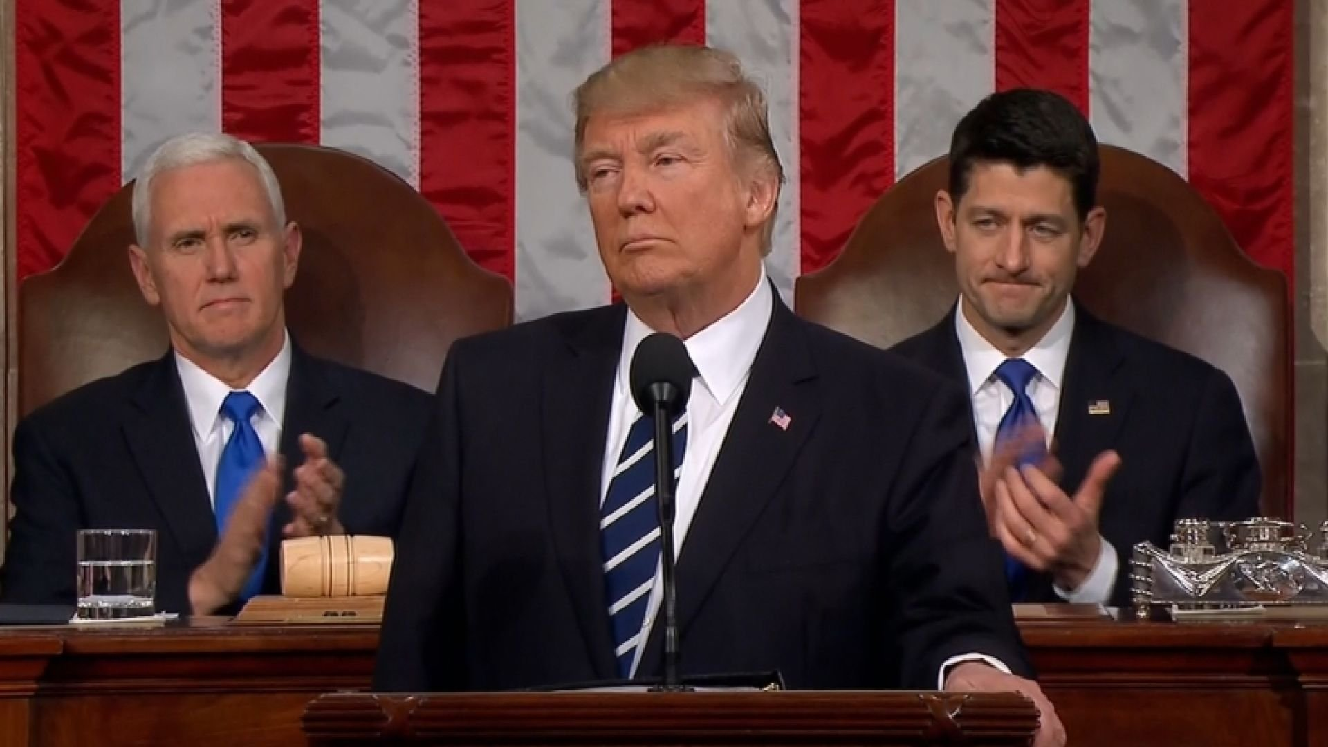 President Donald Trump delivers first address to joint session of Congress.