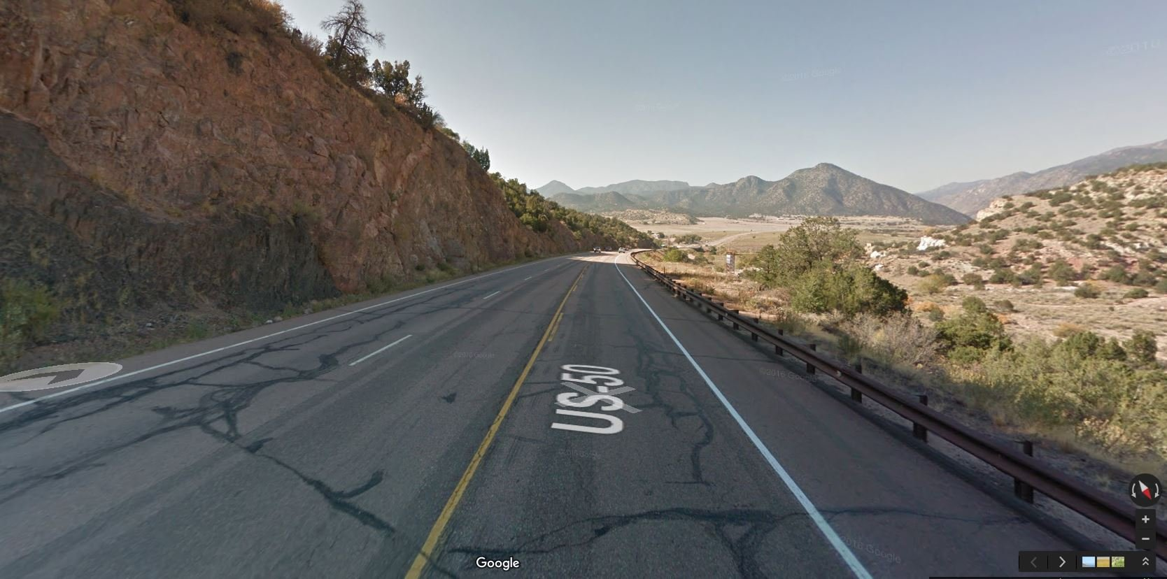 Highway 50 between Parkdale and Texas Creek. (Google Maps)