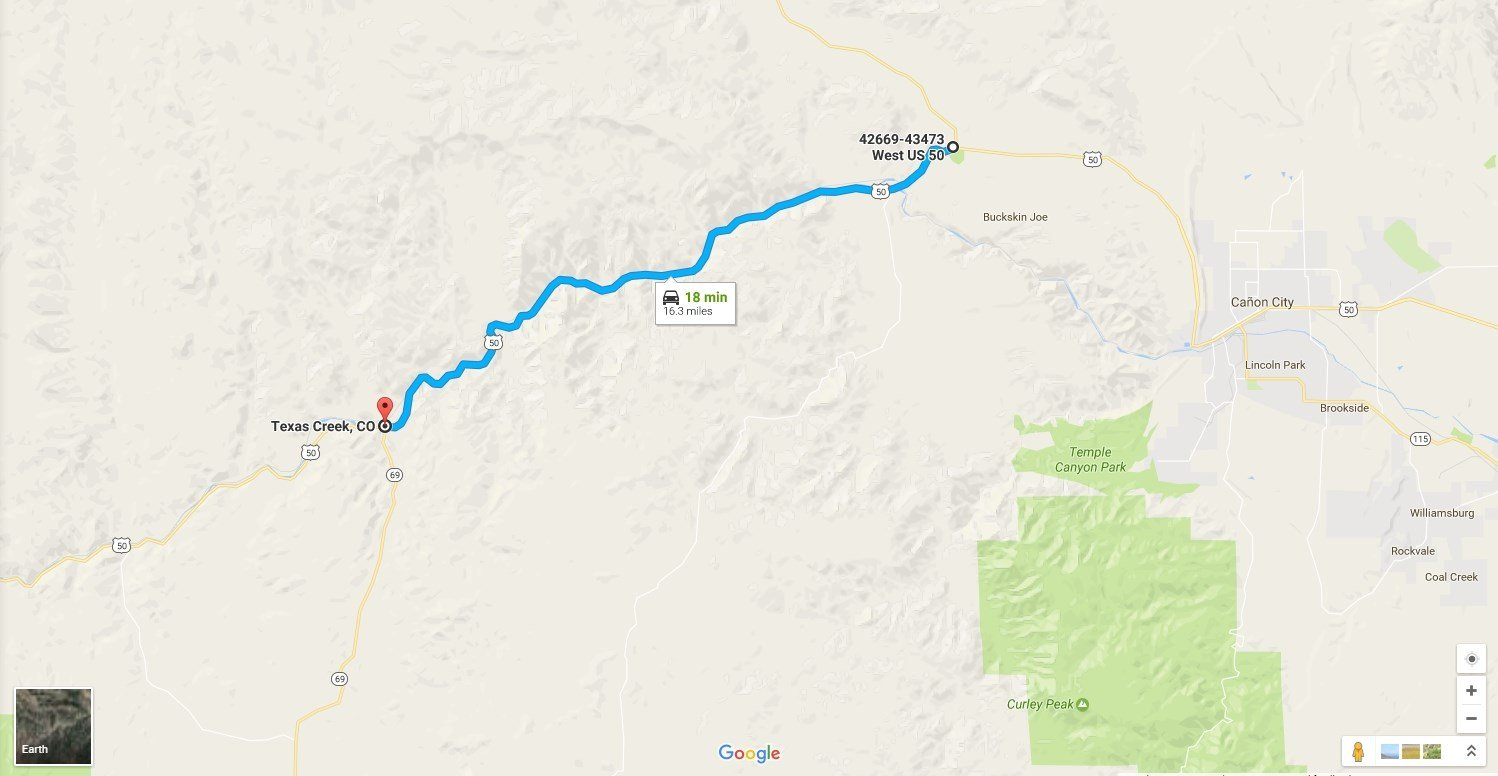 CDOT crews will remove rocks and debris from an 18-mile stretch of Highway 50. (Google Maps)