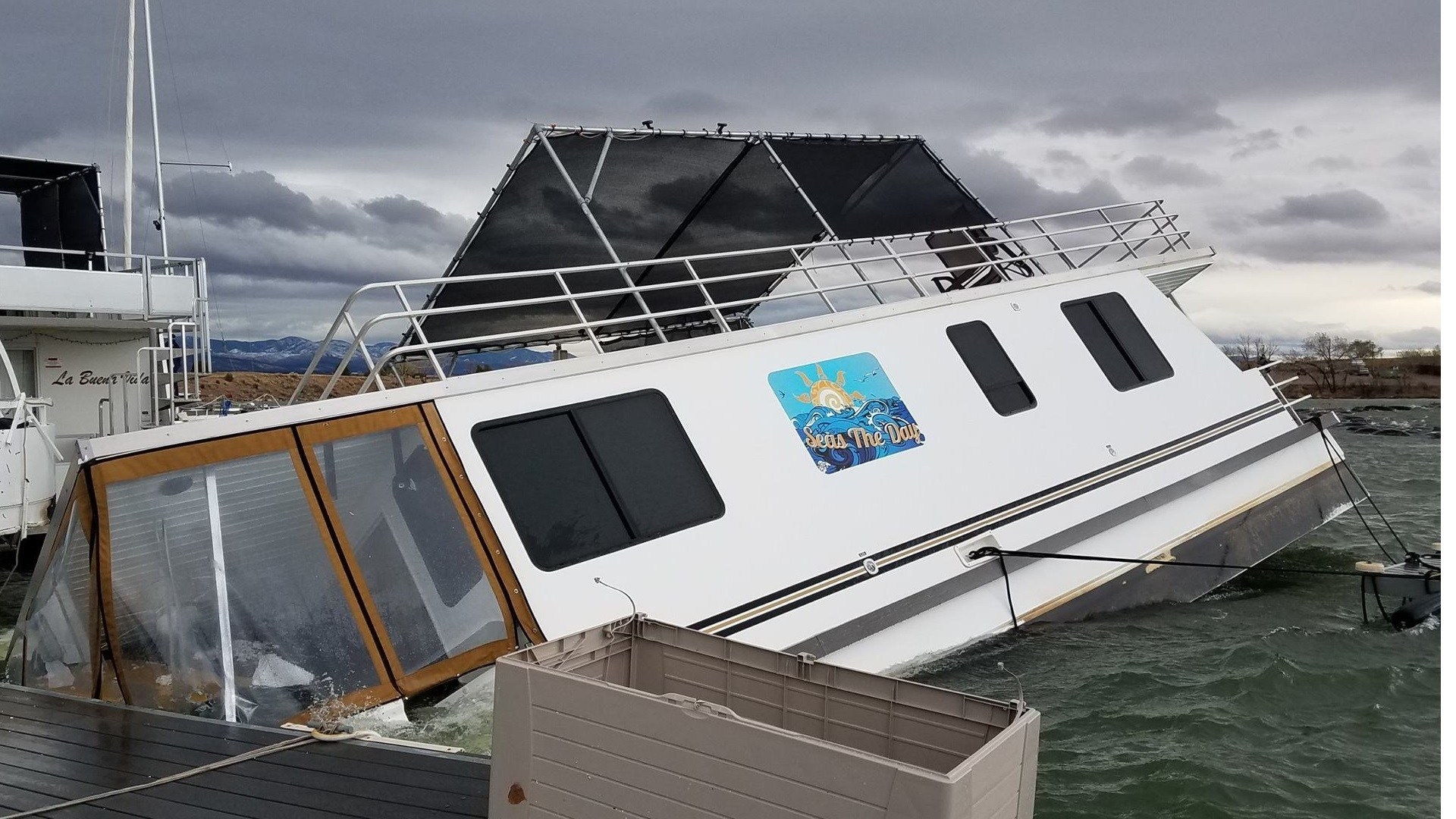 Damage to the marina at Lake Pueblo State Park (Facebook)
