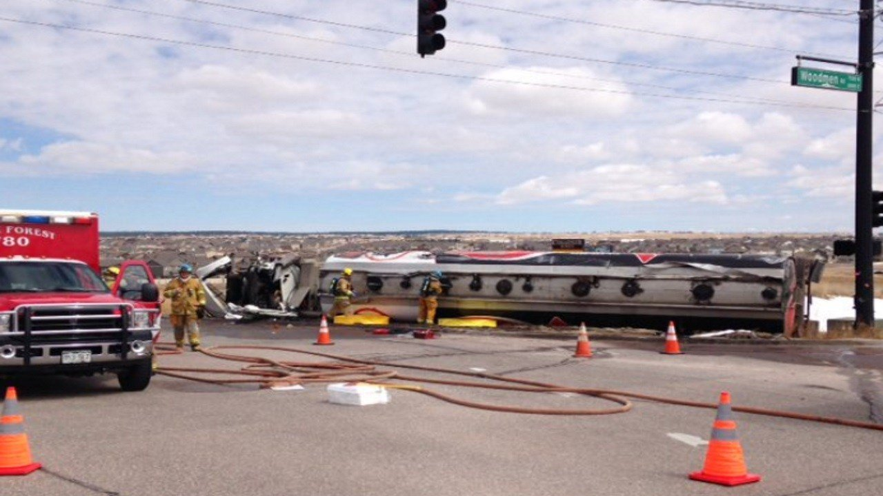 An 18-wheeler rollover has closed the intersection of Black Forest Rd at Woodmen Rd. (Colorado Springs Fire Department)