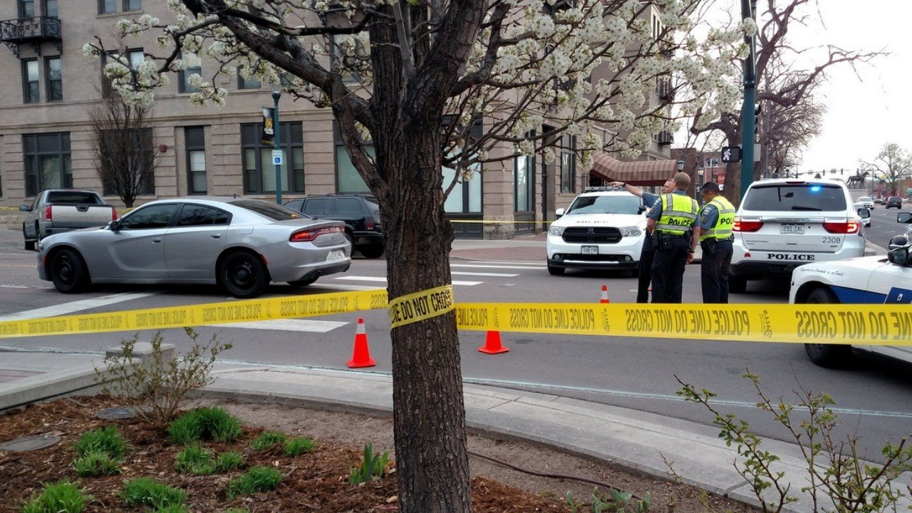 Crime scene tape blocks access to Tejon Street during the investigation of a crash involving a pedestrian. (KOAA)