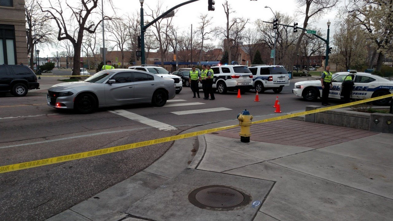 A heavy police presence as CSPD investigates a pedestrian-involved crash on Tejon Avenue. (KOAA)