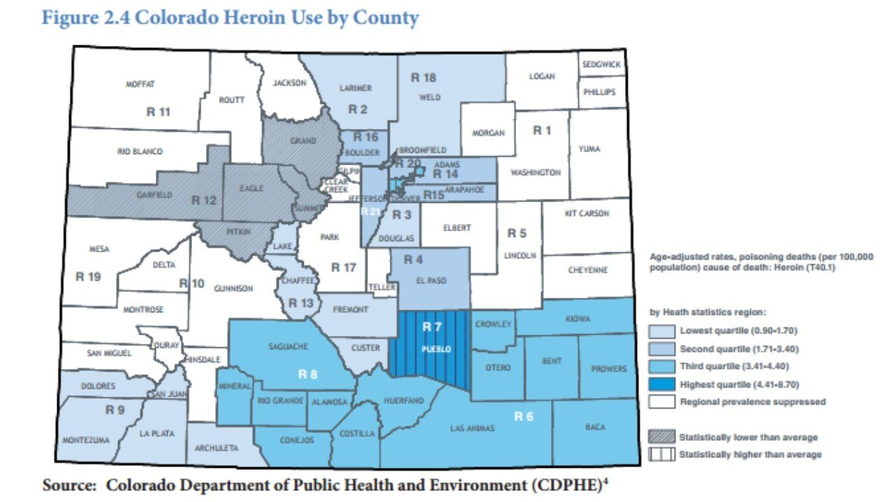 Colorado heroin use by county. (Source: Colorado Department of Public Health and Environment)