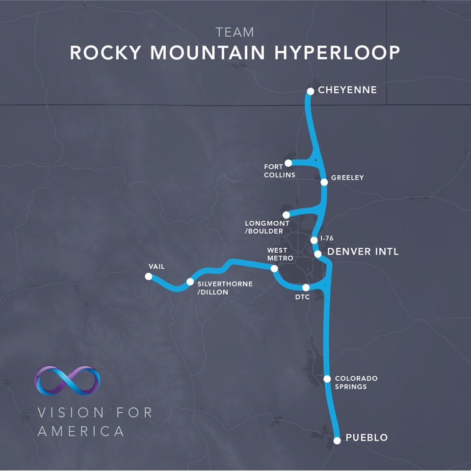 A proposed Colorado route for the super-fast Hyperloop transportation system. Photo courtesy Hyperloop One
