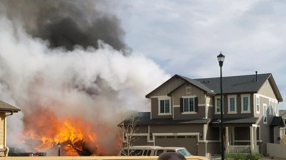 A home in Weld County burns on April 17th. (Photo: @AnushaRoy9News - Twitter)