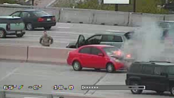Car fire on I-25 north of Cimarron.