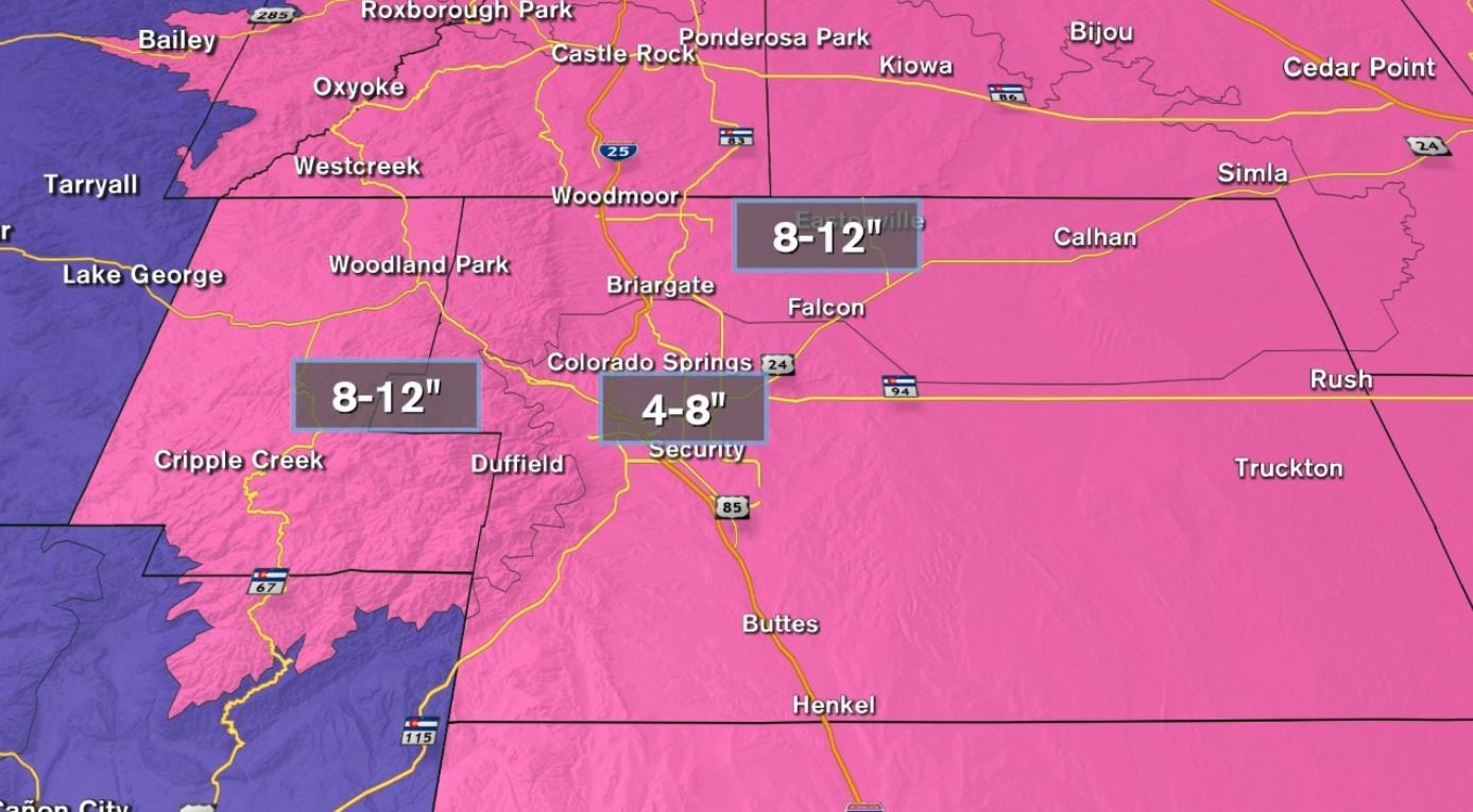 Forecast snow amounts through April 29th. Winter Storm Warnings (pink), Winter Weather Advisories (purple)