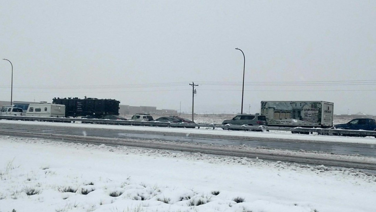 Traffic at a standstill on I-25 north and southbound near Monument Hill.