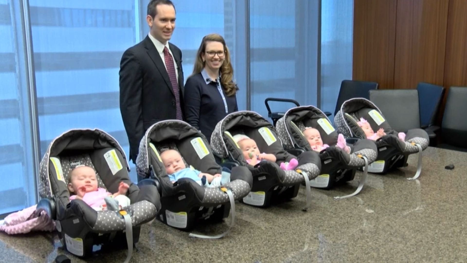 Agroup of quintuplets make their debut in their hometown.