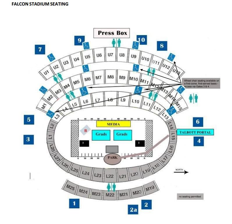 Seating chart for Falcon Stadium