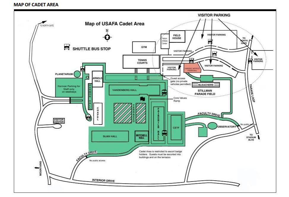 Parking and shuttle map for Cadet Parade