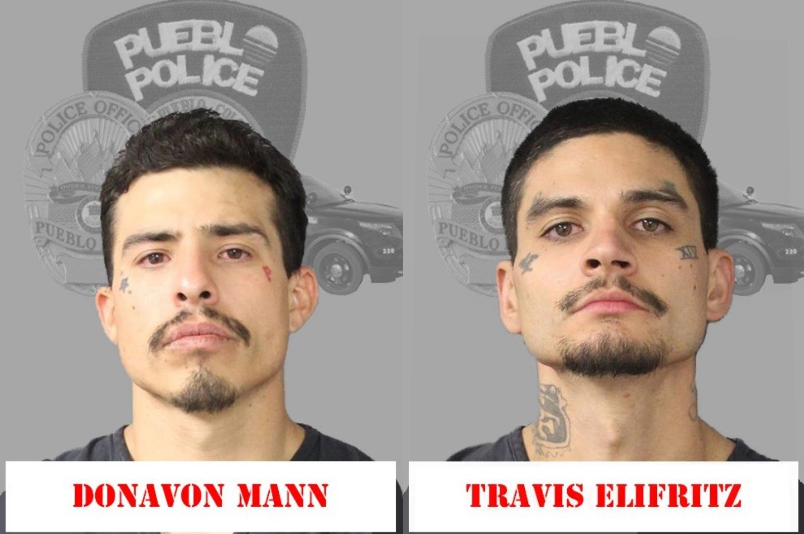 Donavon Mann and Travis Elifritz are charged with attempted murder for a drive-by shooting in Pueblo.