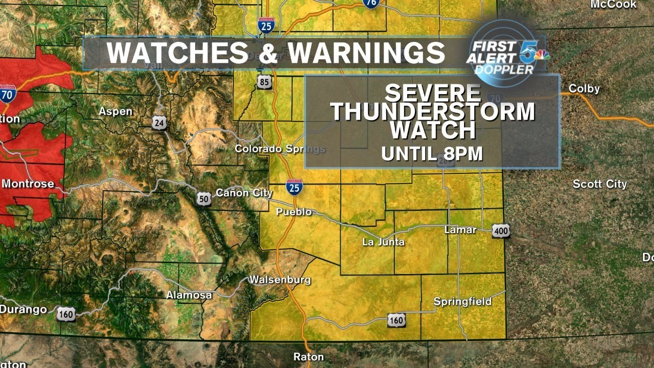 A Severe Thunderstorm Watch is in effect until 8 p.m.