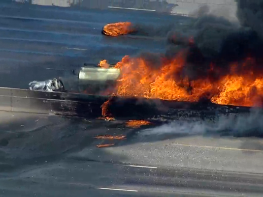Tanker truck fire shuts down Interstate 25 near Denver
