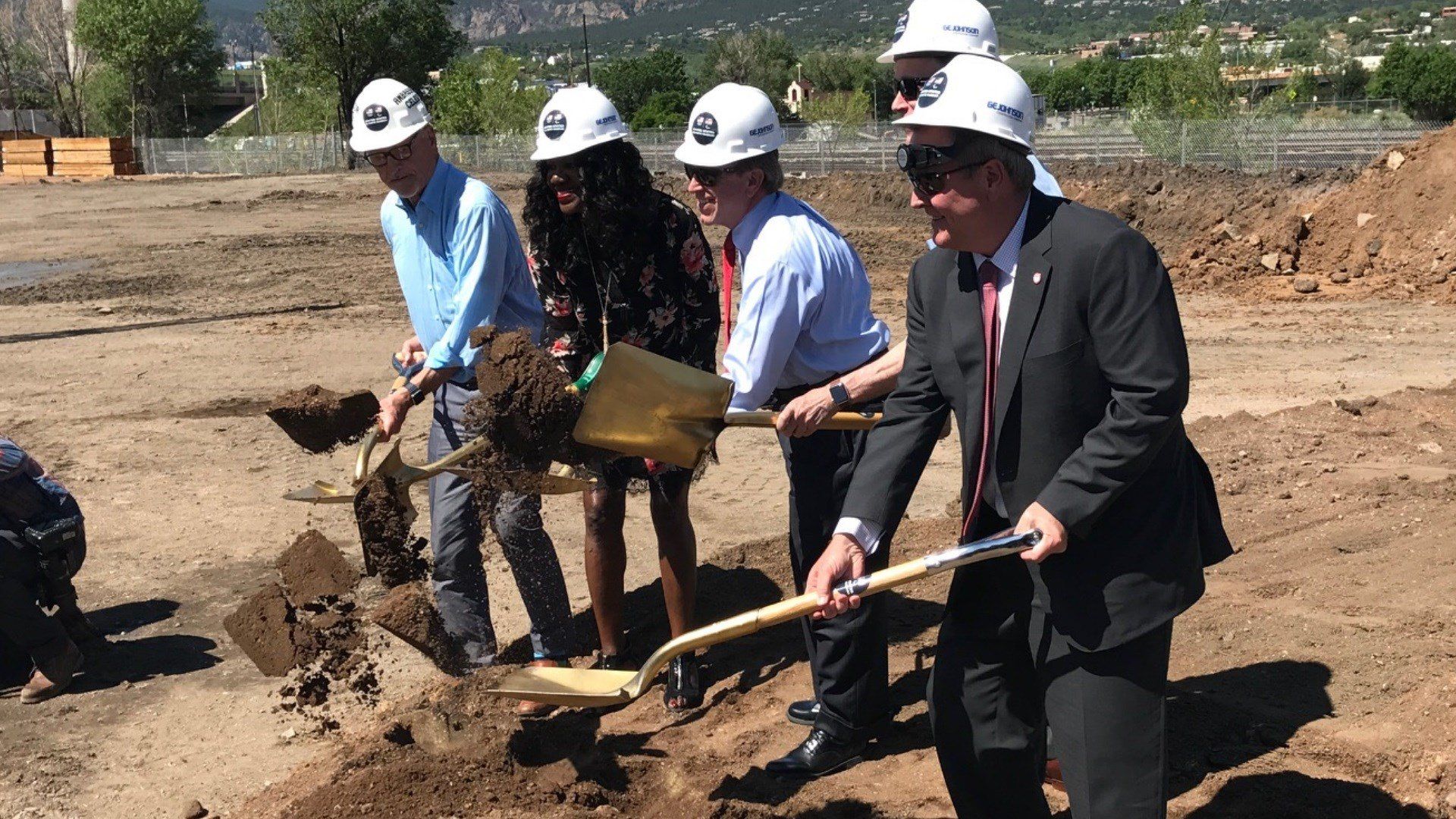 Officials make the ceremonial groundbreaking for the US Olympic Museum in Colorado Springs. (KOAA)