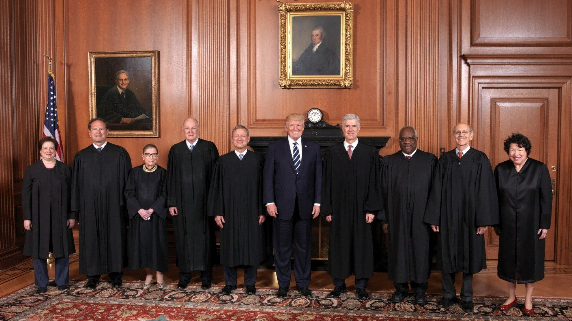 Donald Trump visits Supreme Court for ceremonial swearing in  of Justice Neil Gorsuch.