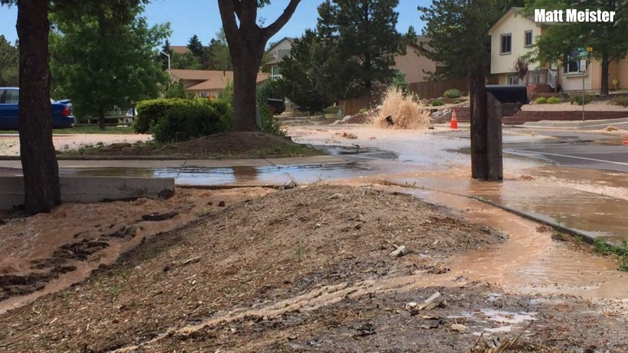 A water main break on Delmonico Dr. muddies up yards. (Twitter: Matt Meister)