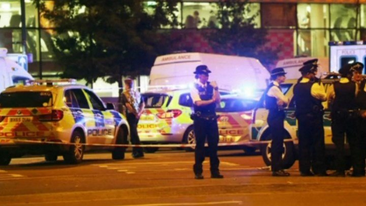 London Metropolitan Police investigate a crash into a crowd outside a mosque.
