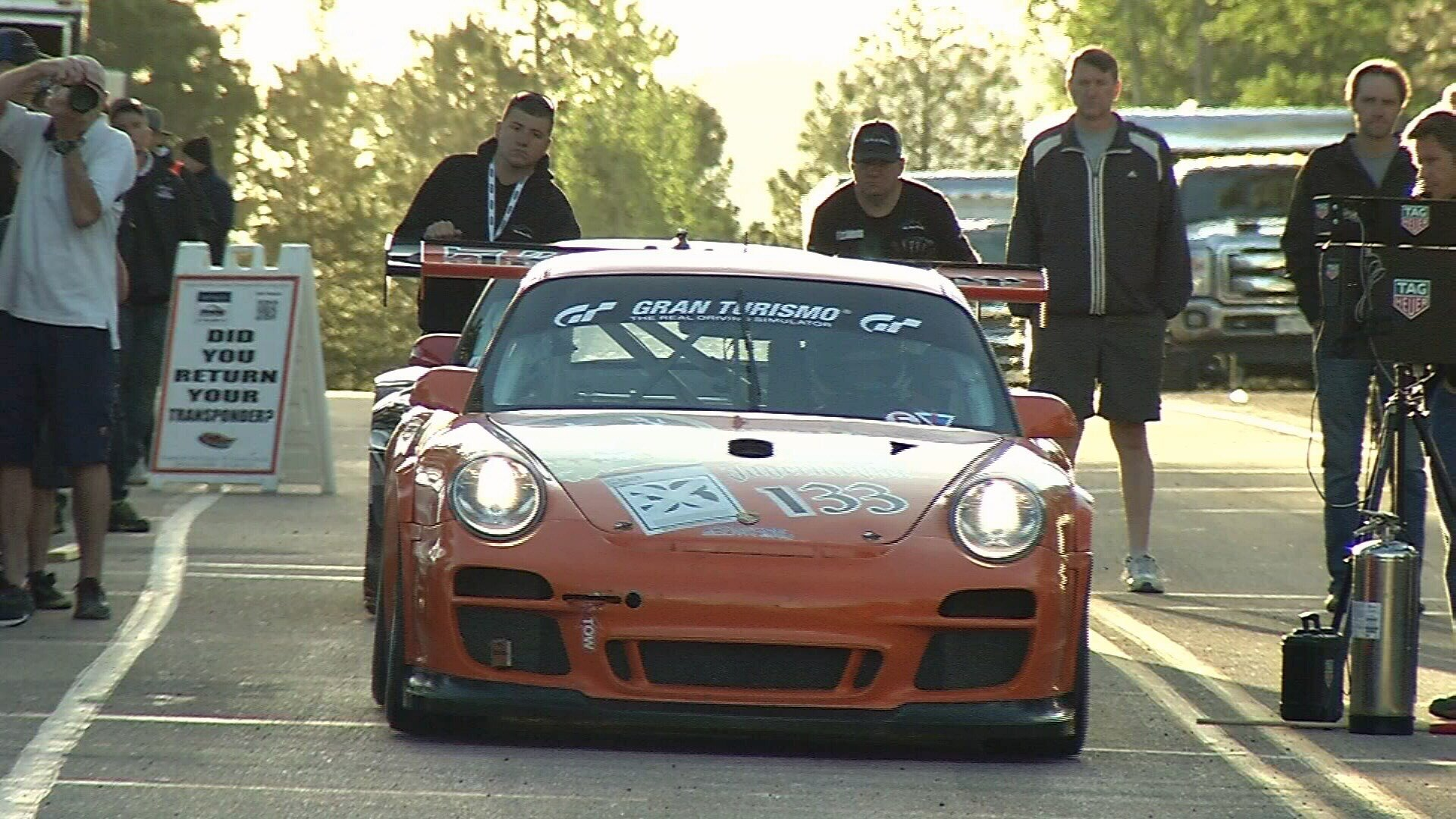 A driver sets off on a practice run for the 2017 Pikes Peak International Hill Climb. (KOAA)