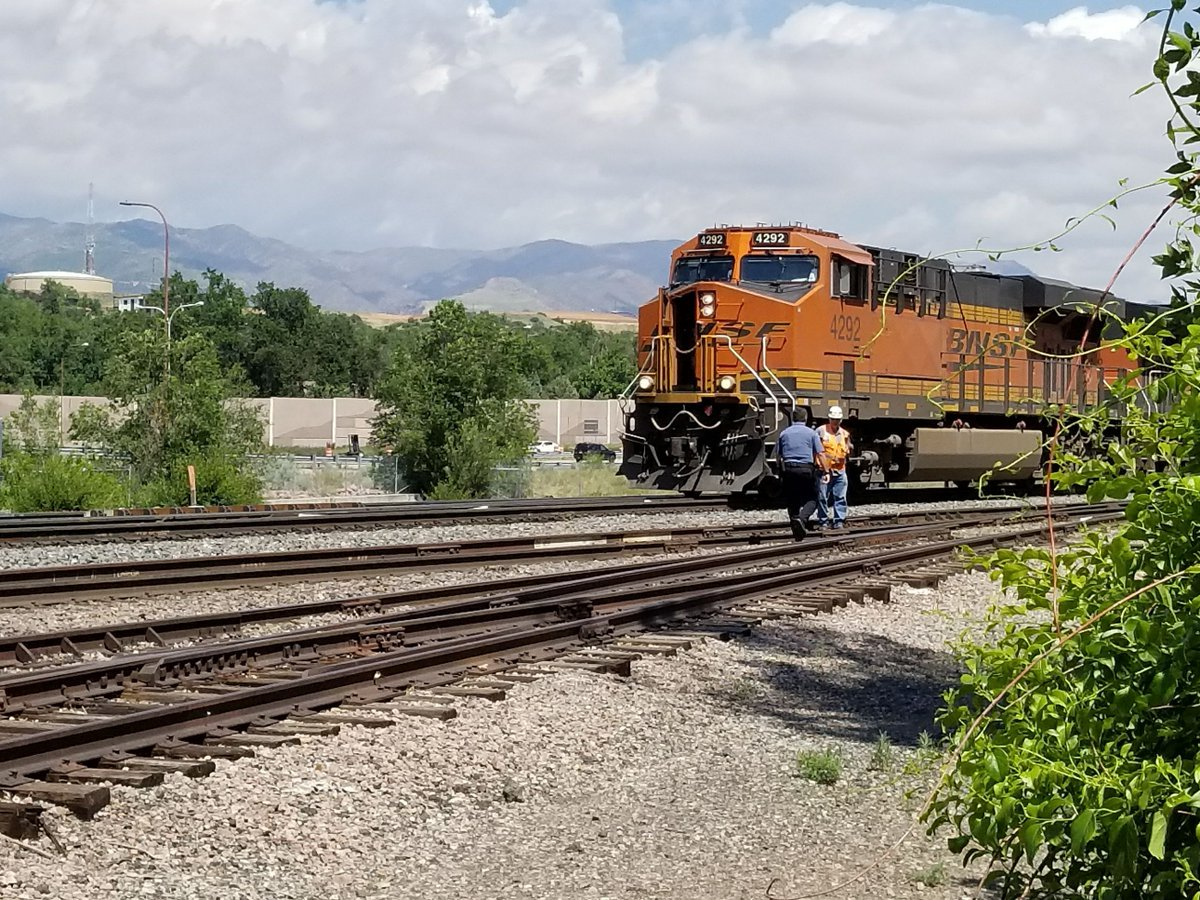 BSNF train stopped near Bijou and I-25 after a fatal accident involving a pedestrian June 25, 2017