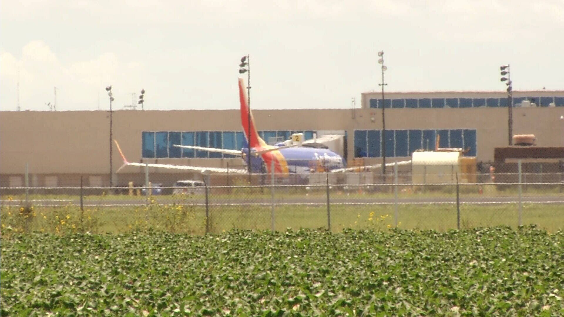 A diverted Southwest Airlines flight at the gates of Corpus Christi International Airport. (KRIS)