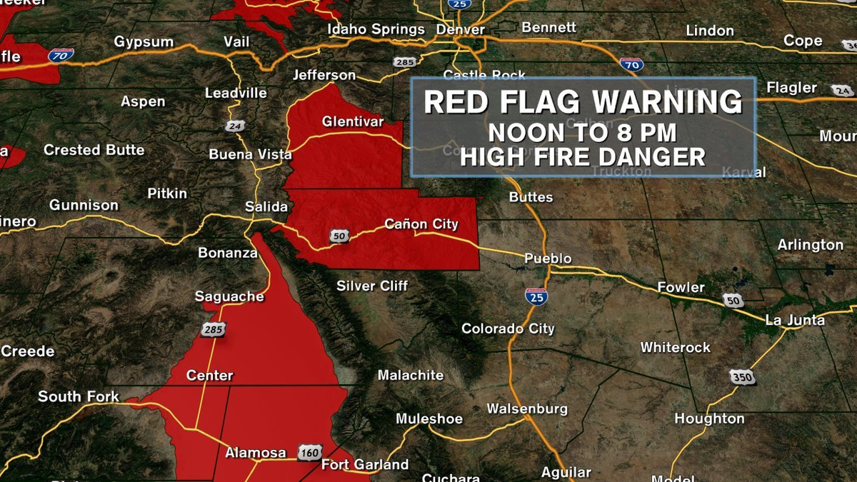 The National Weather Service has issued a Red Flag Warning for areas until 8 p.m. Tuesday,  including Canon City and Alamosa.