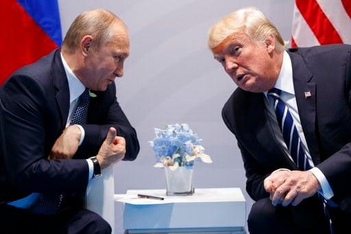 U.S. President Donald Trump meets with Russian President Vladimir Putin at the G-20 Summit in Hamburg, Germany.