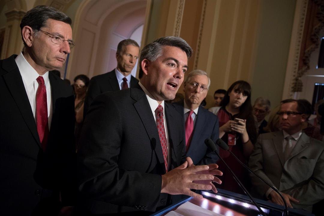 FILE PHOTO: Sen. Cory Gardner, R-Colo. expresses appreciation to police officers during a news conference on Capitol Hill in Washington.