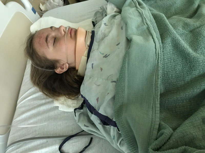 Lainey Parsons recovers in the hospital after being hit by a hit-and-run driver in June.