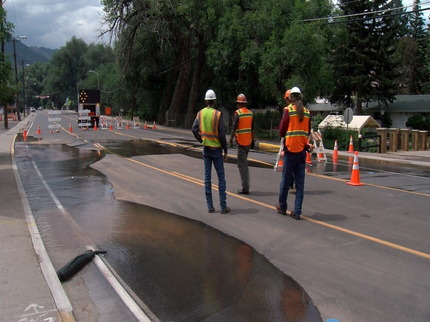 Manitou Ave. closed after water main break.