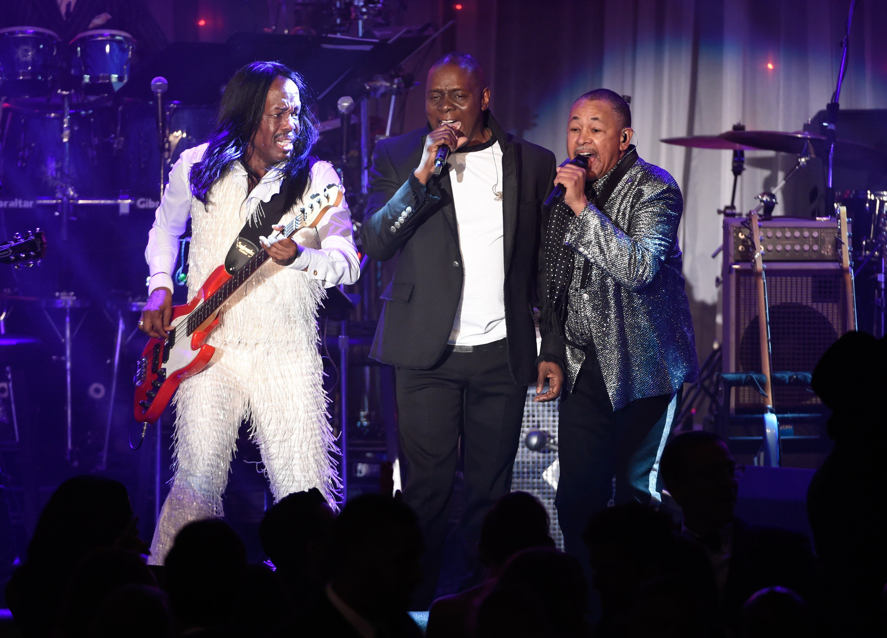 Verdine White, from left, Philip Bailey and Ralph Johnson of Earth, Wind and Fire perform at the 2016 Clive Davis Pre-Grammy Gala at the Beverly Hilton Hotel on Sunday, Feb. 14, 2016, in Beverly Hills, Calif.