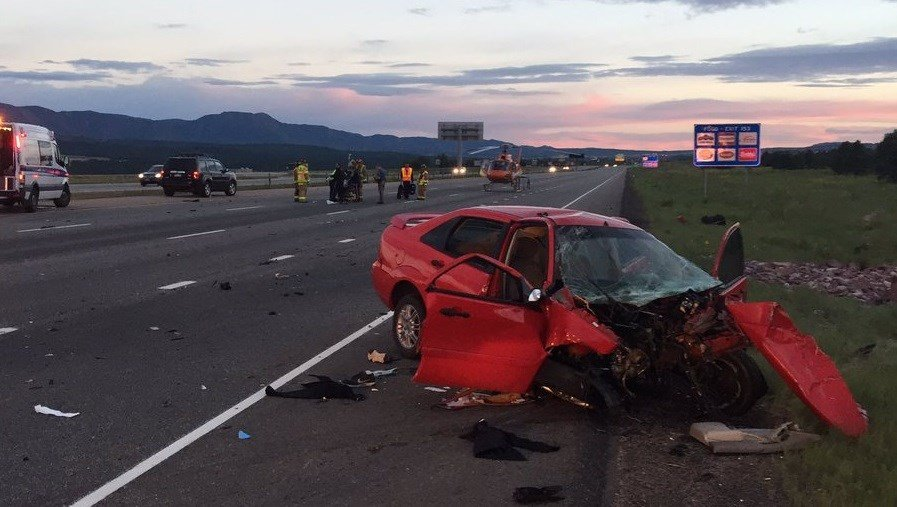 Scene of a serious injury accident on I-25 near Briargate Parkway