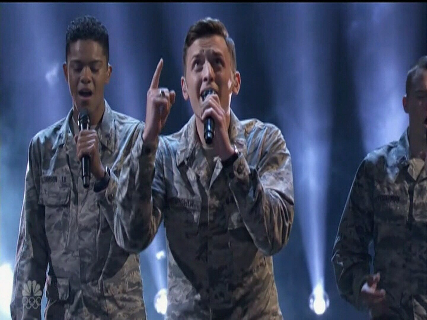 """The Air Force Academy's a capella group """"In The Stairwell"""" performs """"Some Nights"""" by fun. on America's Got Talent. (KOAA)"""