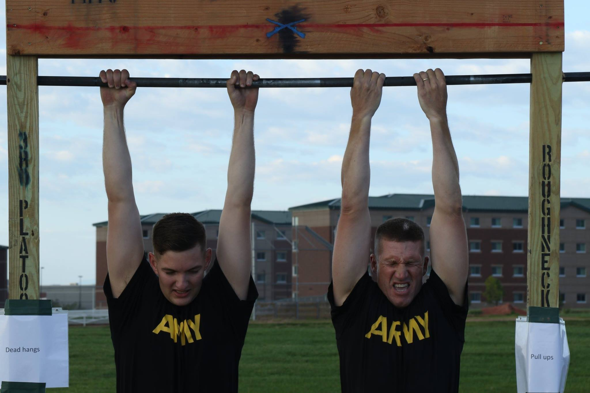 Sergeant Major of the Army Daniel A. Dailey (right) visits the #4ID and conducts Physical Readiness Training with Soldiers of the 2nd Infantry Brigade Combat Team, 4th Infantry Division as part of #IronHorse Week festivities.