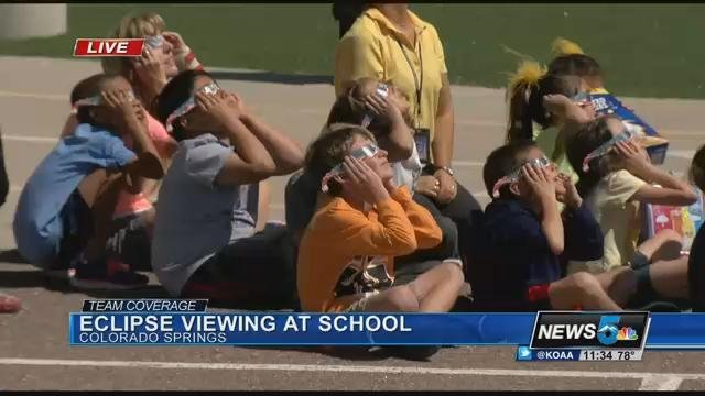Springs Ranch Elementary students enjoy the solar eclipse in Colorado Springs. (KOAA)