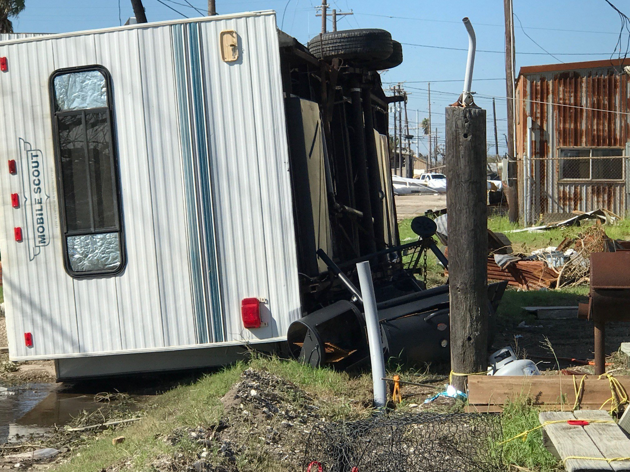 Mobile home tipped over