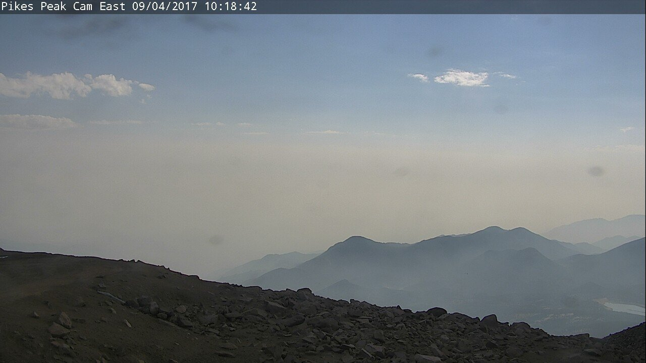 Haze from wildfires burning in Montana, Idaho and Wyoming contributes to haze over Colorado Springs on Sept. 4, 2017.
