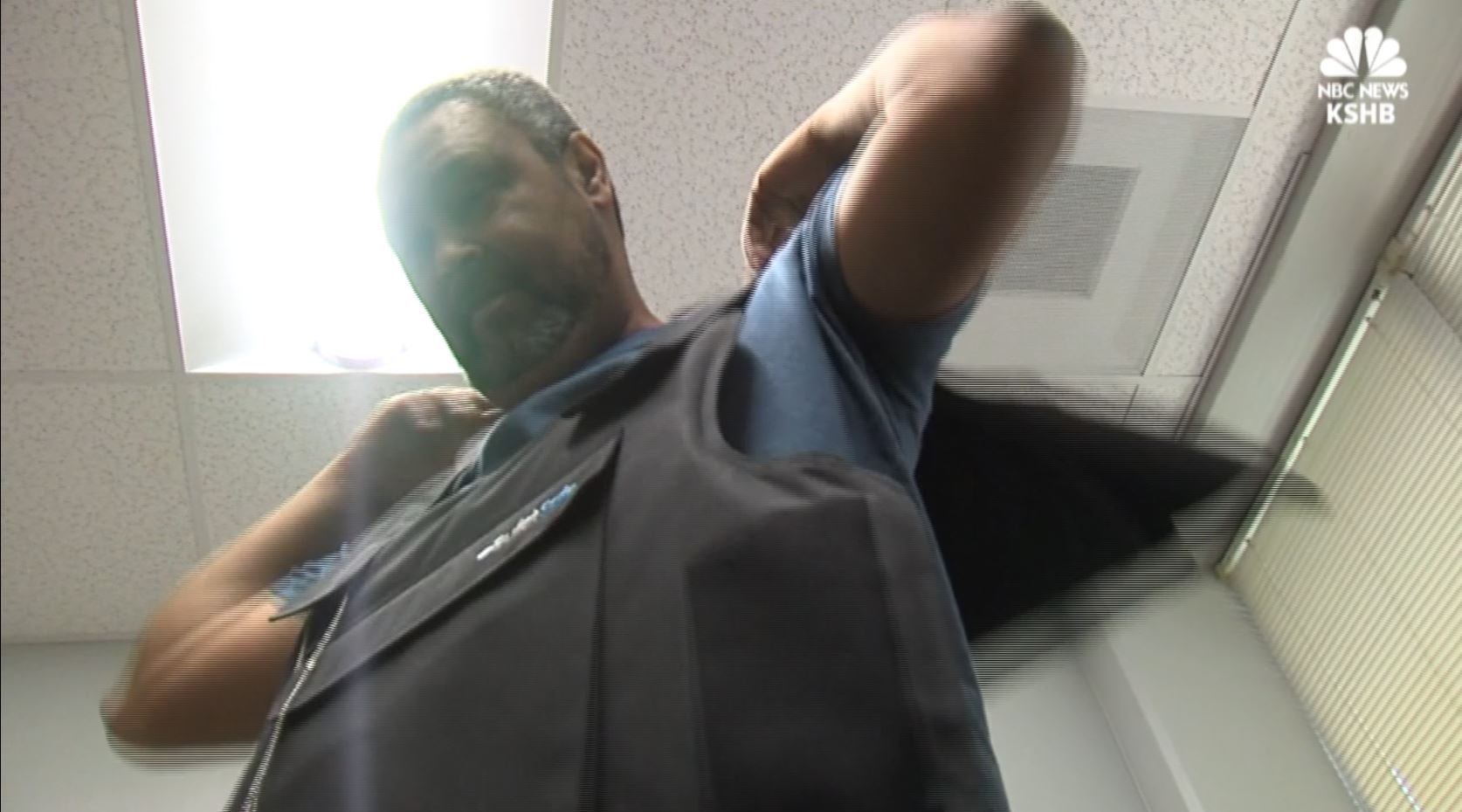 KU professor Kevin Wilmott wears a bulletproof vest to class every day to protest a new concealed carry law.