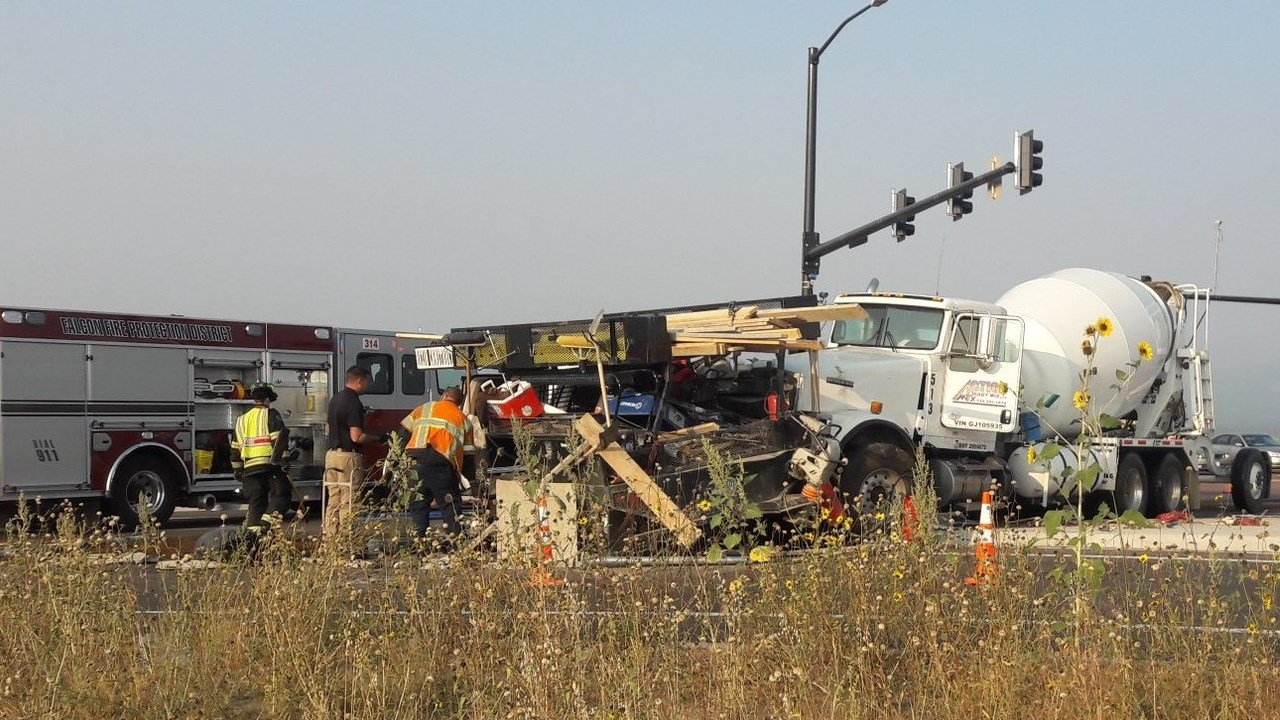 This crash at Marksheffel Rd and Highway 24 caused significant delays Wednesday morning. (KOAA)